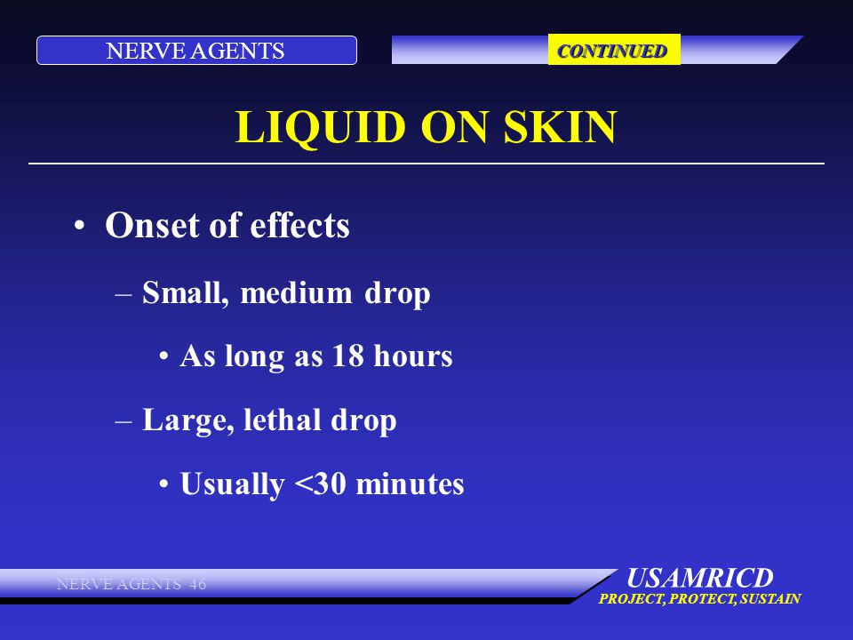 LIQUID ON SKIN Onset of effects Small, medium drop As long as 18 hours