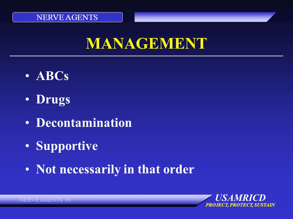 MANAGEMENT ABCs Drugs Decontamination Supportive