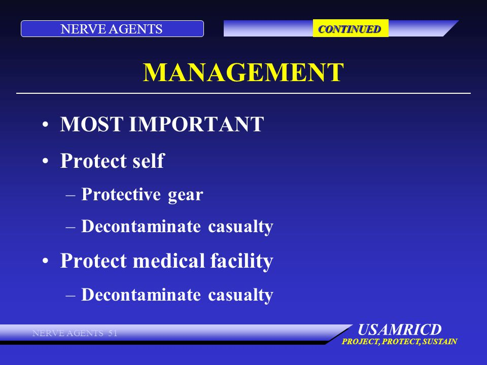 MANAGEMENT MOST IMPORTANT Protect self Protect medical facility