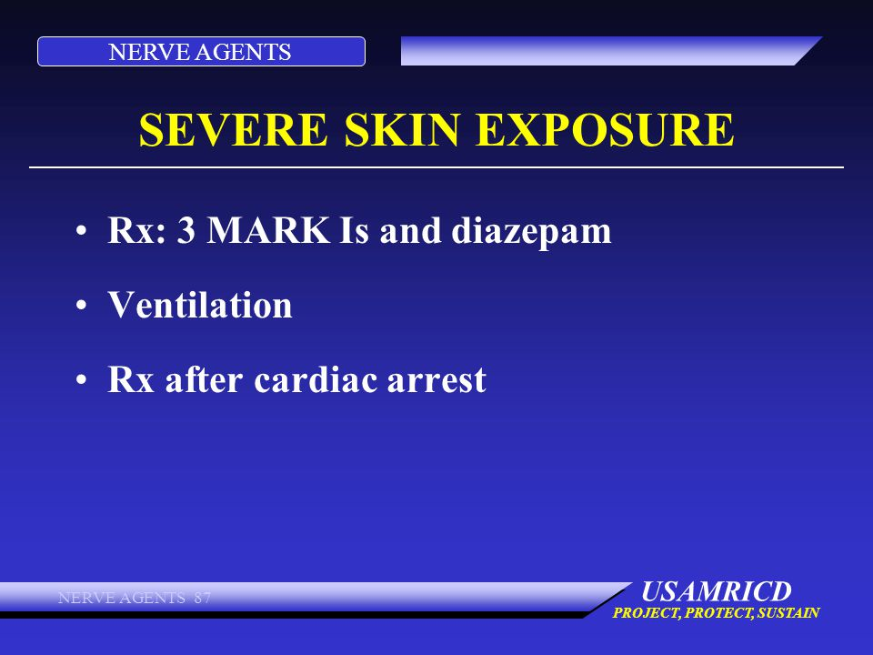 SEVERE SKIN EXPOSURE Rx: 3 MARK Is and diazepam Ventilation