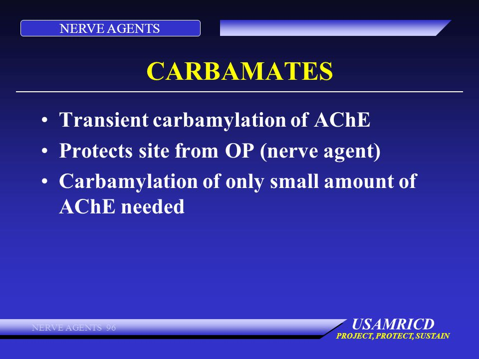 CARBAMATES Transient carbamylation of AChE