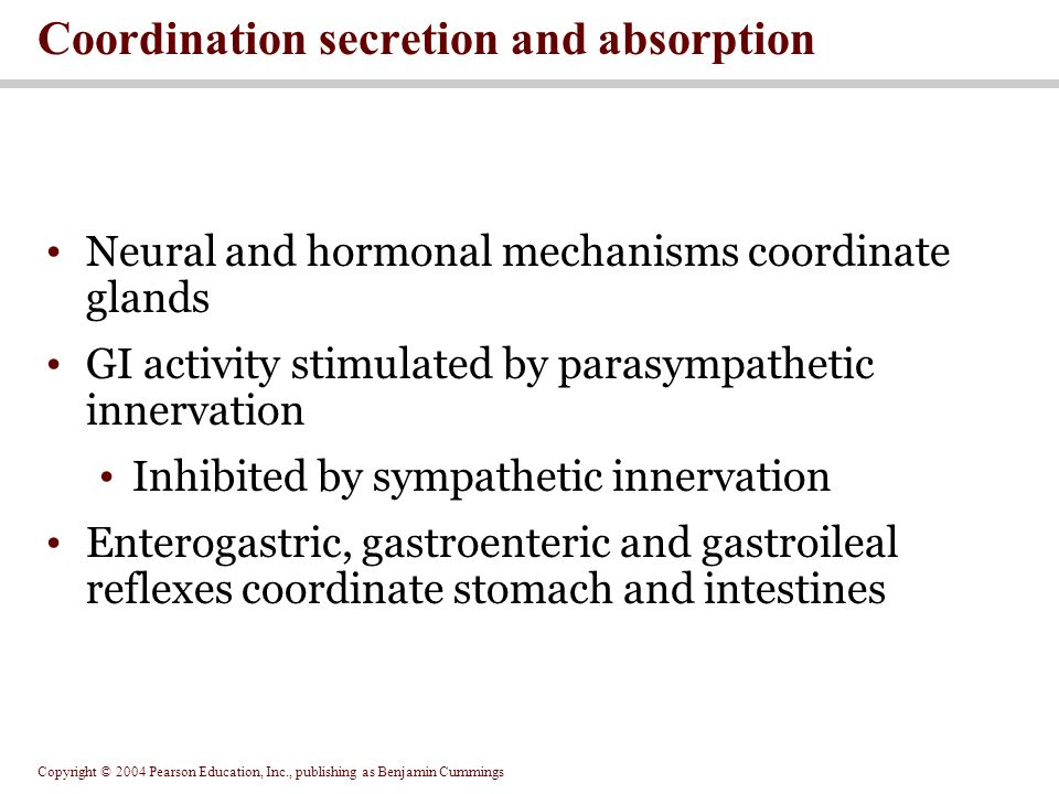 Coordination secretion and absorption
