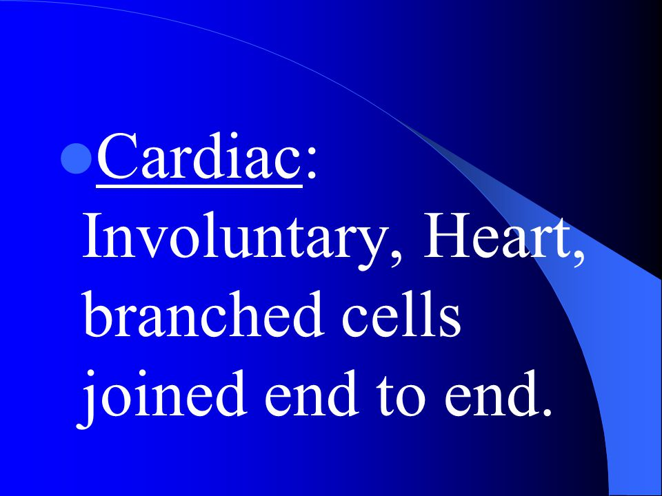 Cardiac: Involuntary, Heart, branched cells joined end to end.