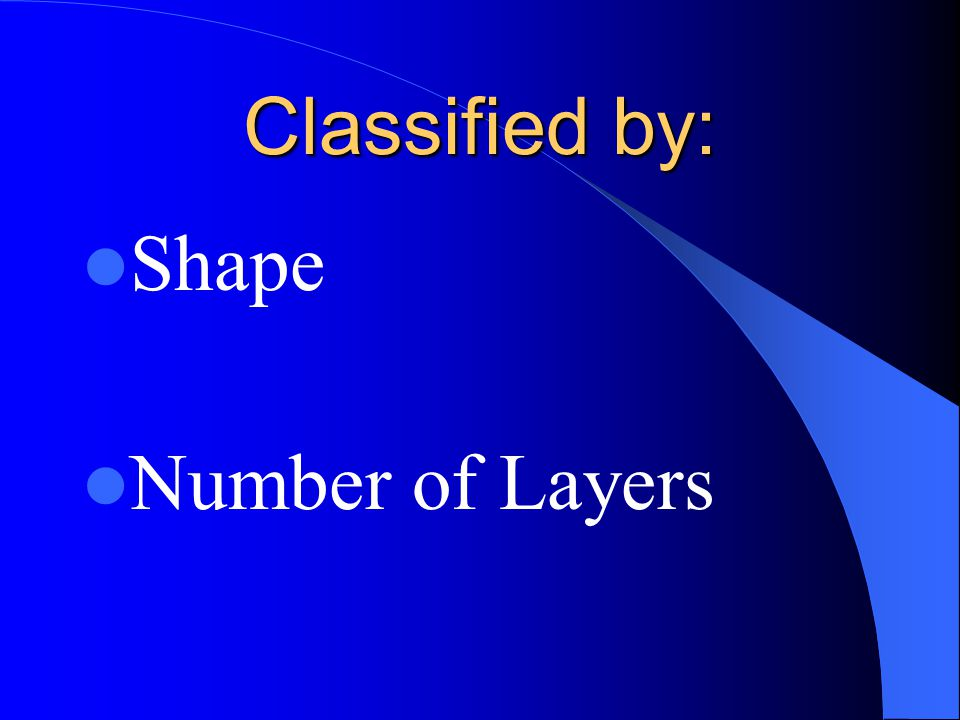 Classified by: Shape Number of Layers