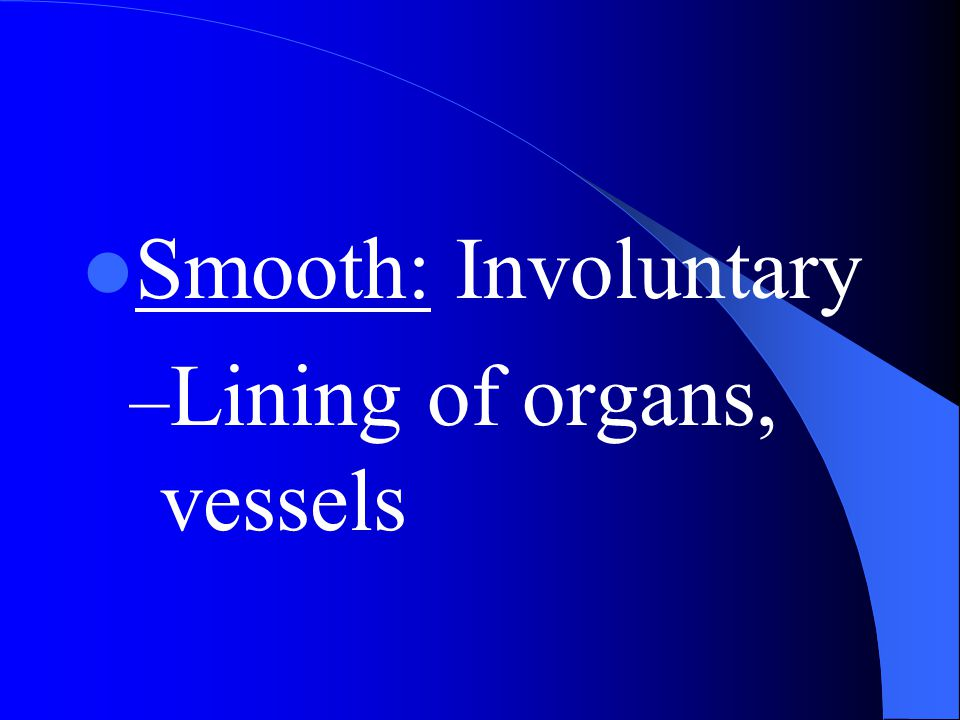 Smooth: Involuntary Lining of organs, vessels