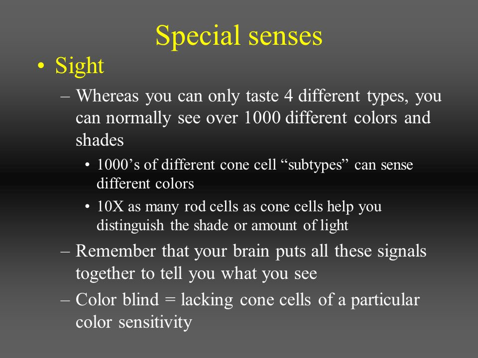 Special senses Sight. Whereas you can only taste 4 different types, you can normally see over 1000 different colors and shades.