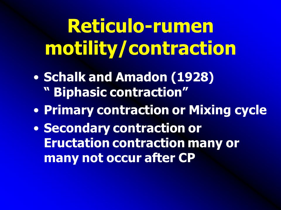 Reticulo-rumen motility/contraction