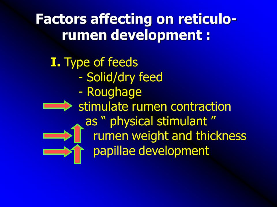 Factors affecting on reticulo-rumen development :