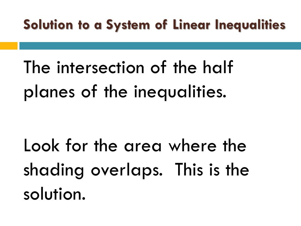 Solution to a System of Linear Inequalities