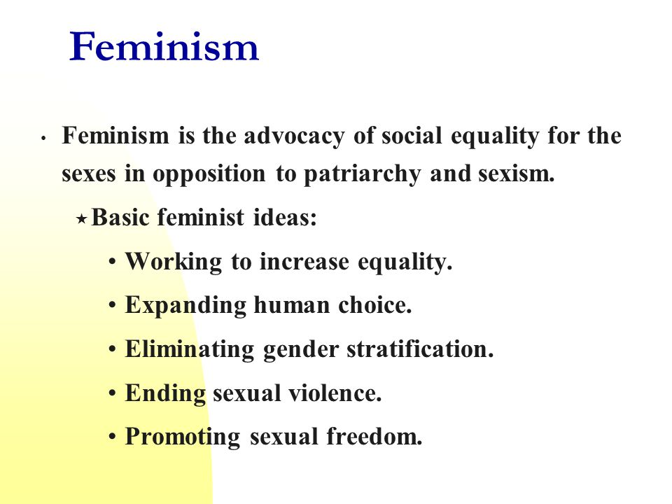 Feminism Feminism is the advocacy of social equality for the sexes in opposition to patriarchy and sexism.