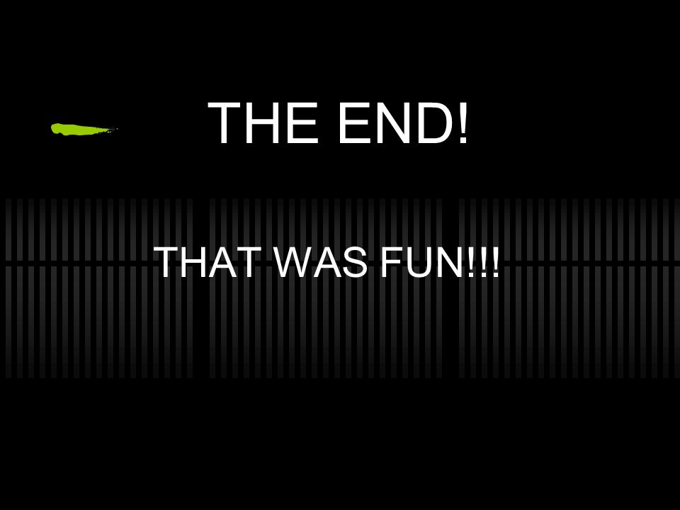 THE END! THAT WAS FUN!!!