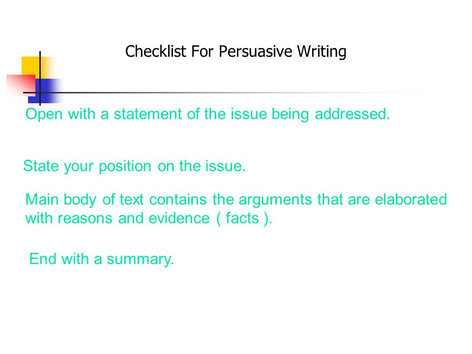 Checklist For Persuasive Writing