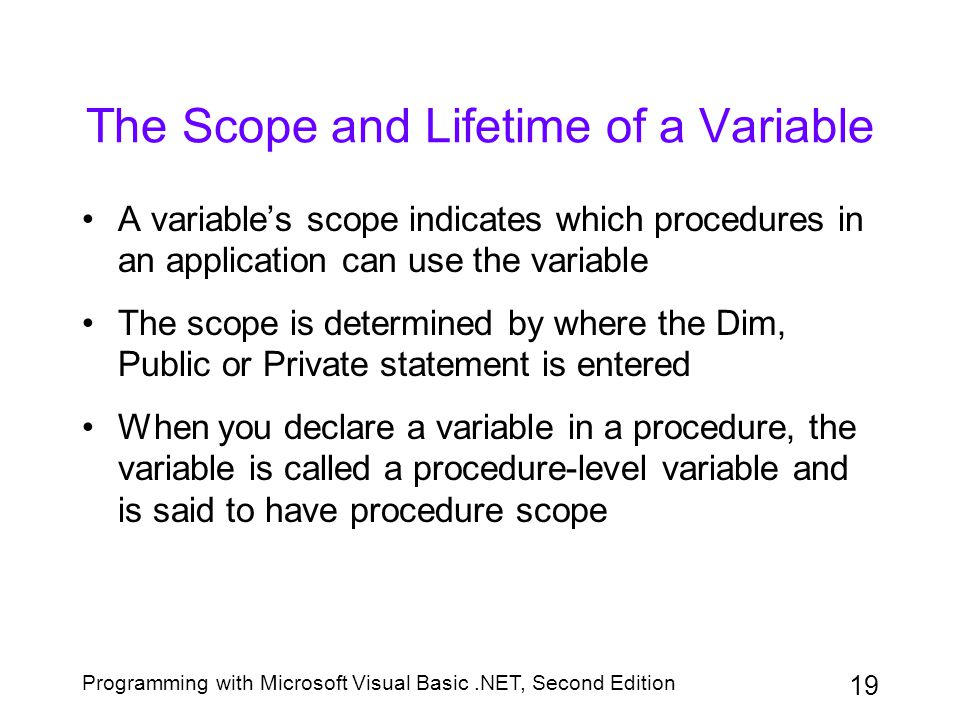 The Scope and Lifetime of a Variable