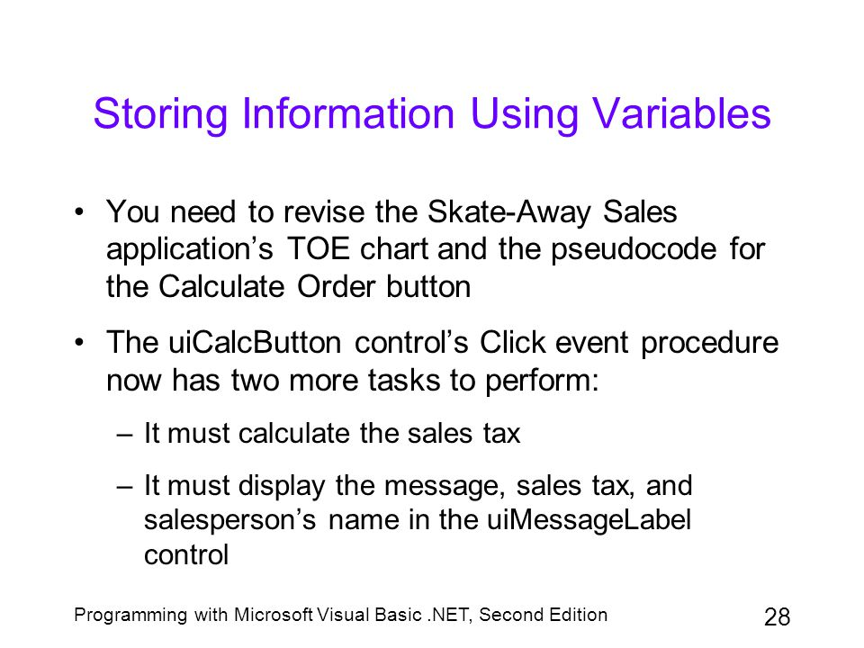 Storing Information Using Variables