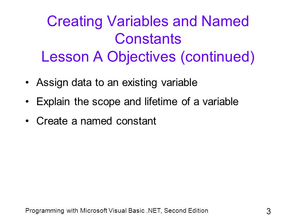 Creating Variables and Named Constants Lesson A Objectives (continued)