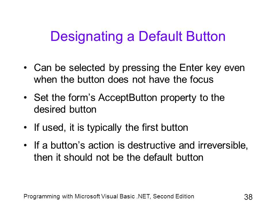Designating a Default Button