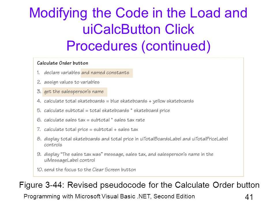 Modifying the Code in the Load and uiCalcButton Click Procedures (continued)
