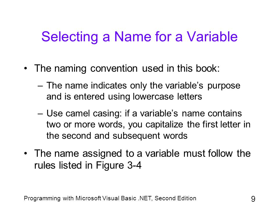 Selecting a Name for a Variable