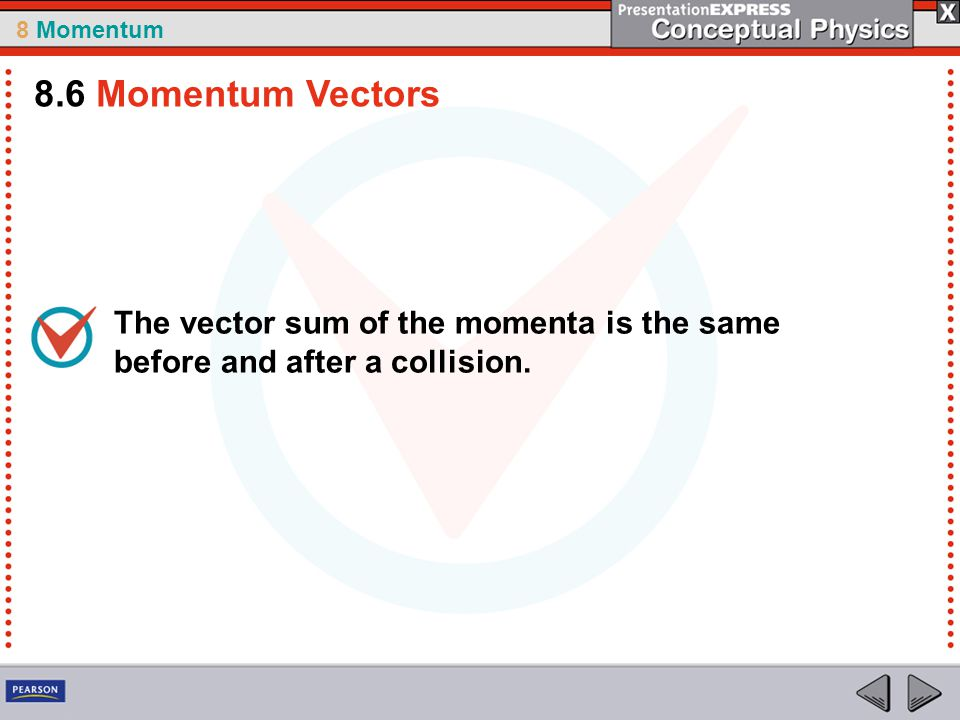 8.6 Momentum Vectors The vector sum of the momenta is the same before and after a collision.