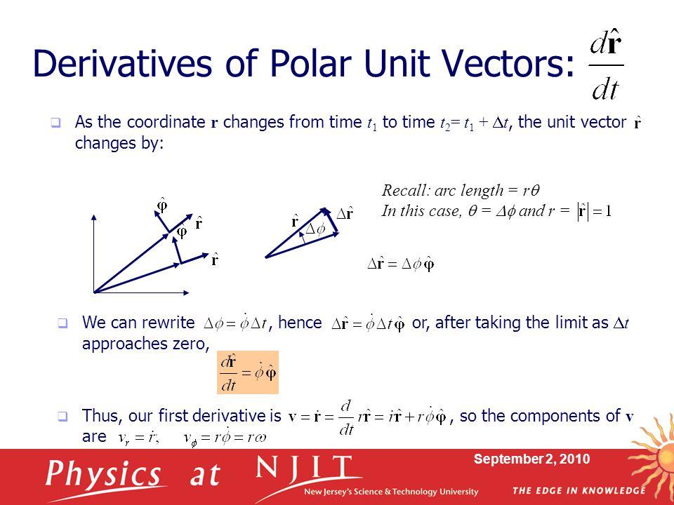 Derivatives of Polar Unit Vectors: