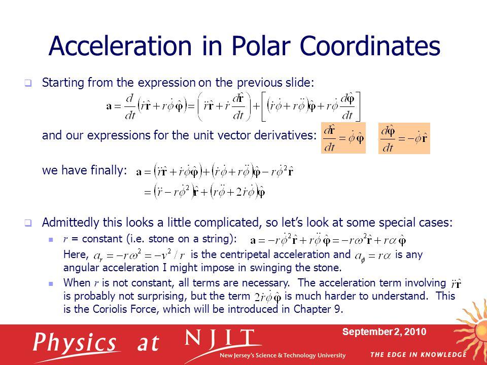 Acceleration in Polar Coordinates