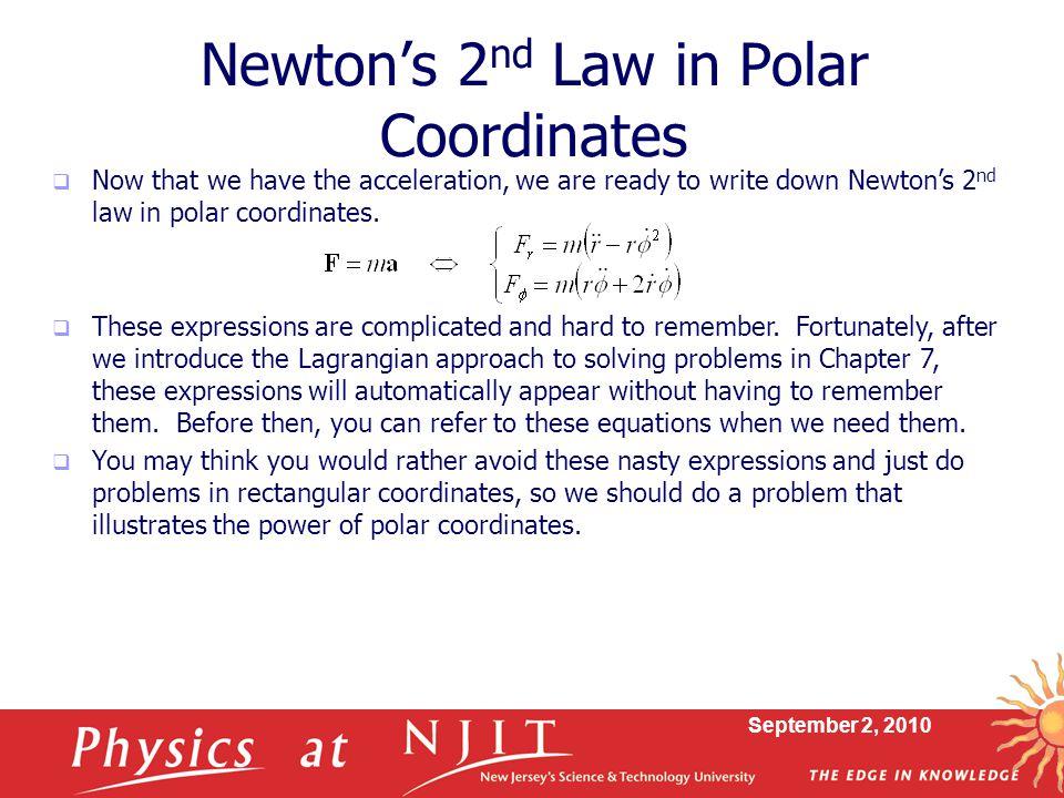 Newton's 2nd Law in Polar Coordinates