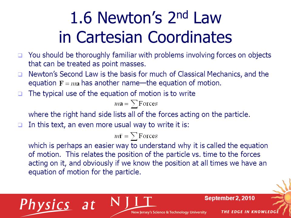 1.6 Newton's 2nd Law in Cartesian Coordinates