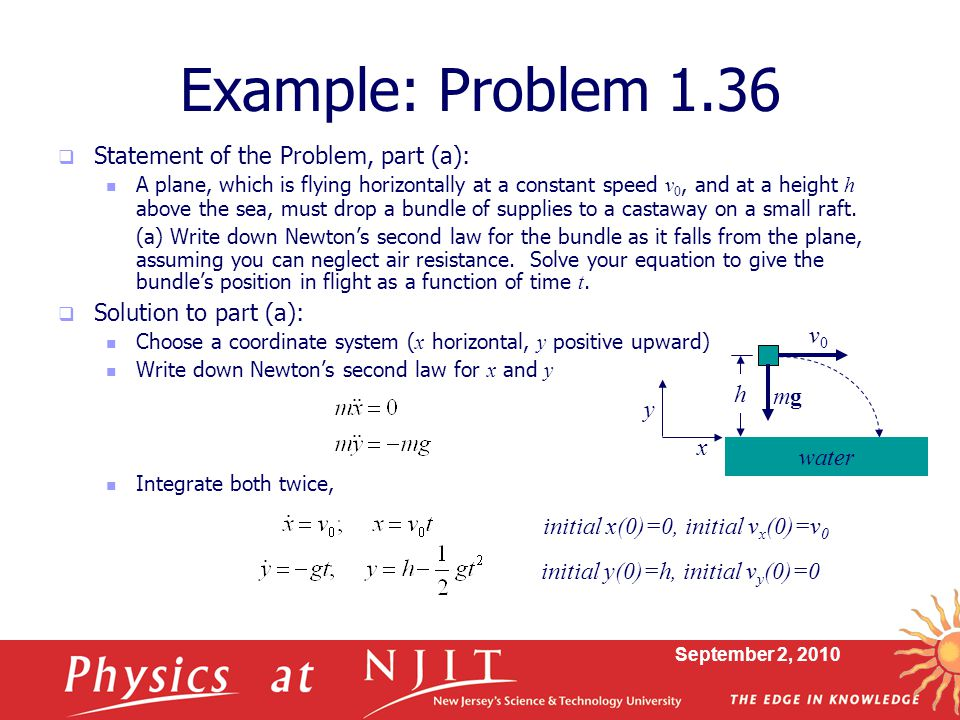 Example: Problem 1.36 Statement of the Problem, part (a):