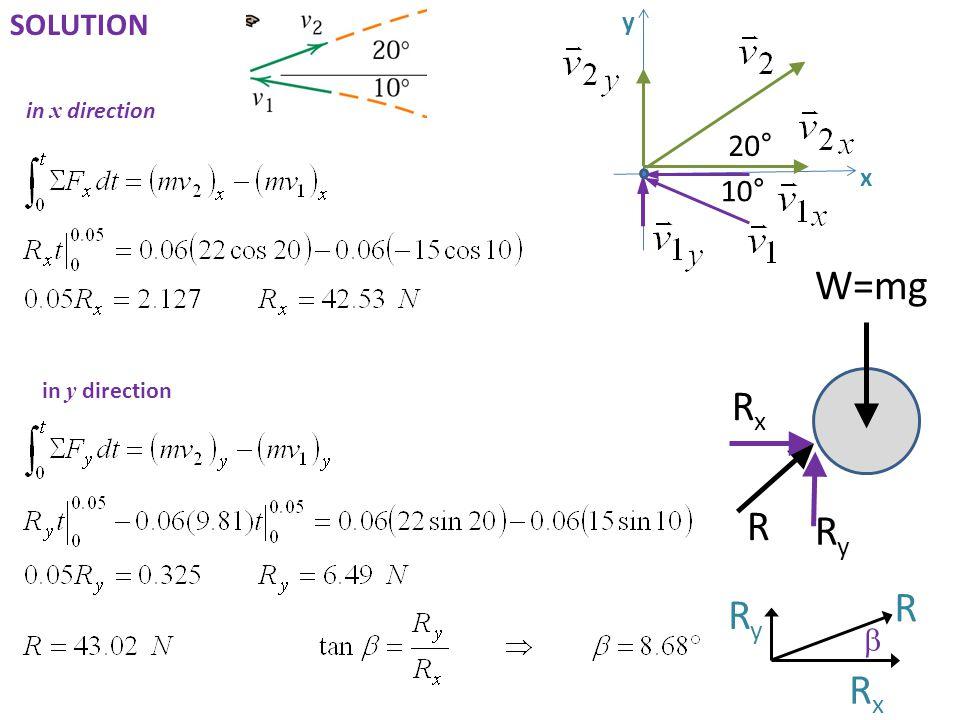 W=mg Rx R Ry R Ry Rx SOLUTION 20° 10° b y x in x direction