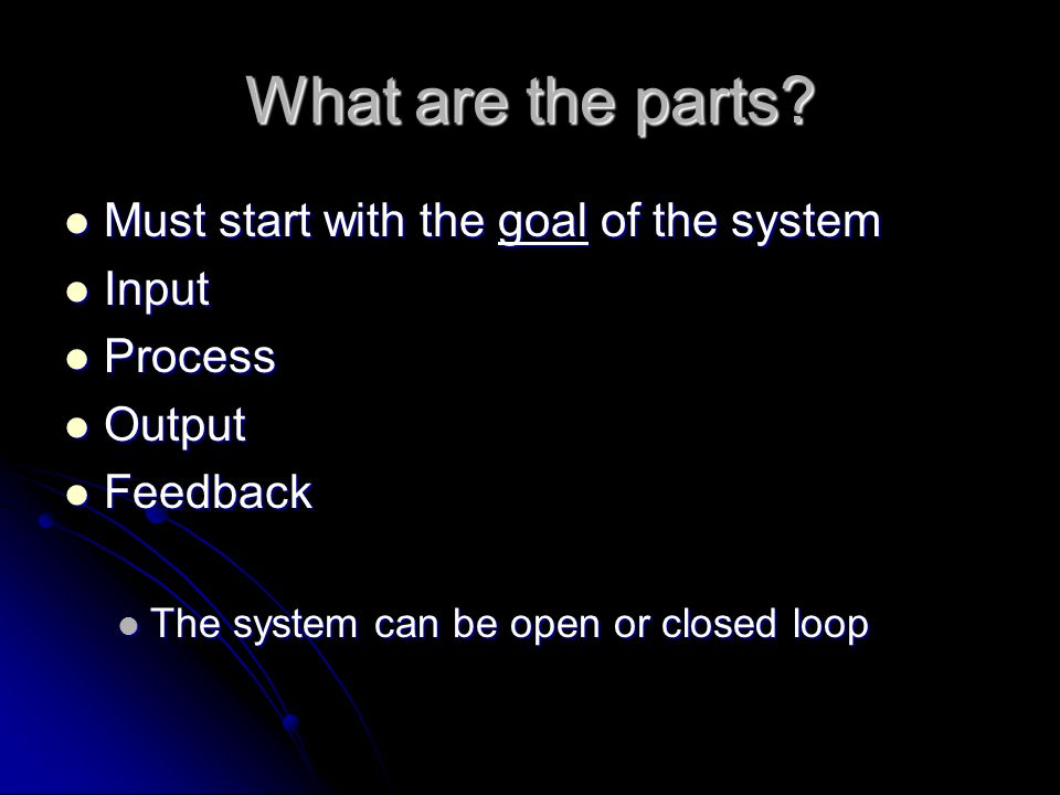 What are the parts Must start with the goal of the system Input