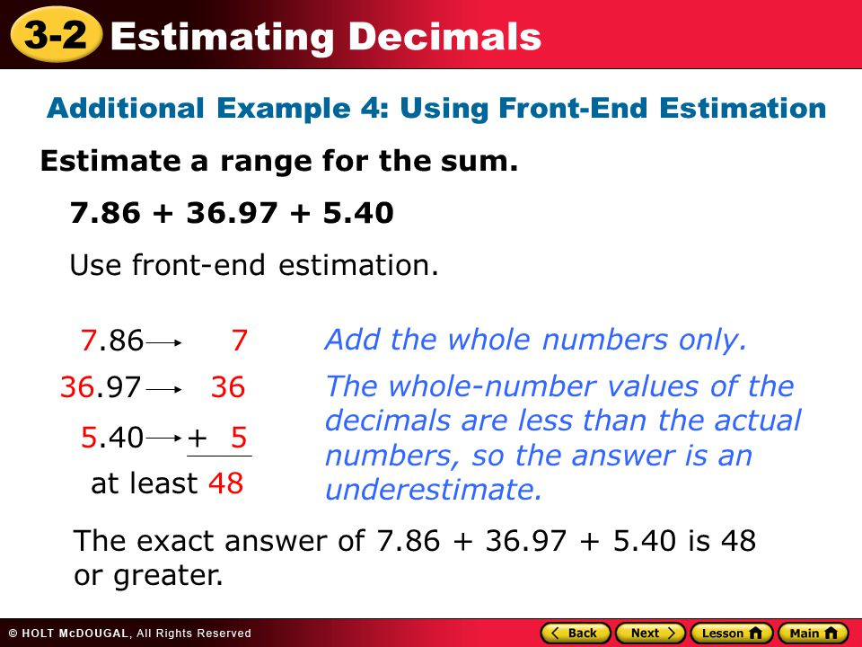 Additional Example 4: Using Front-End Estimation