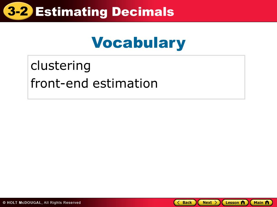 Vocabulary clustering front-end estimation