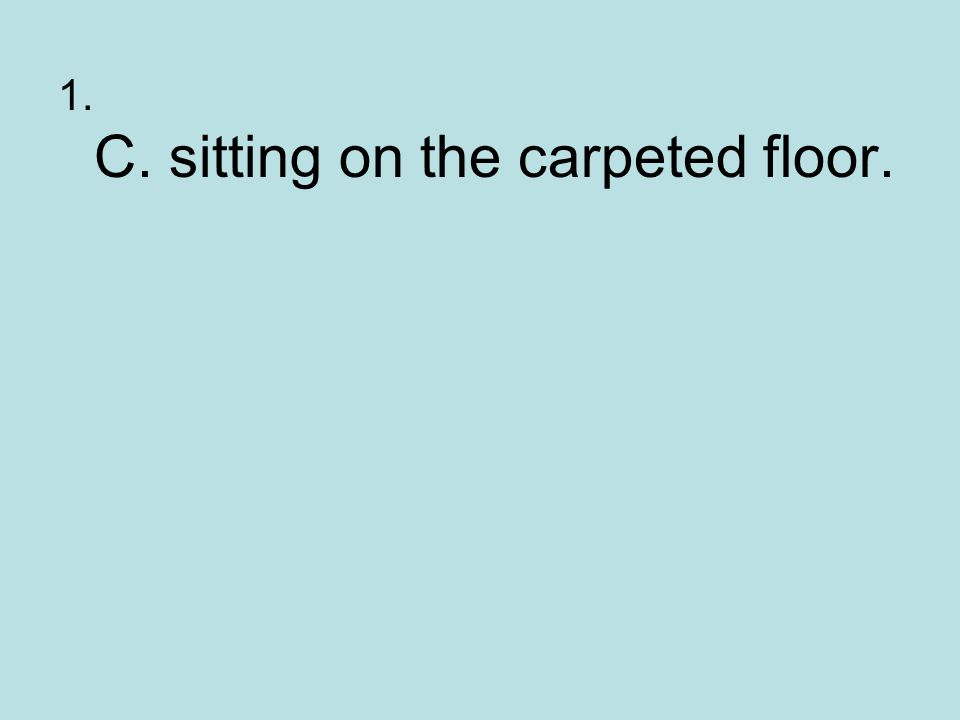1. C. sitting on the carpeted floor.