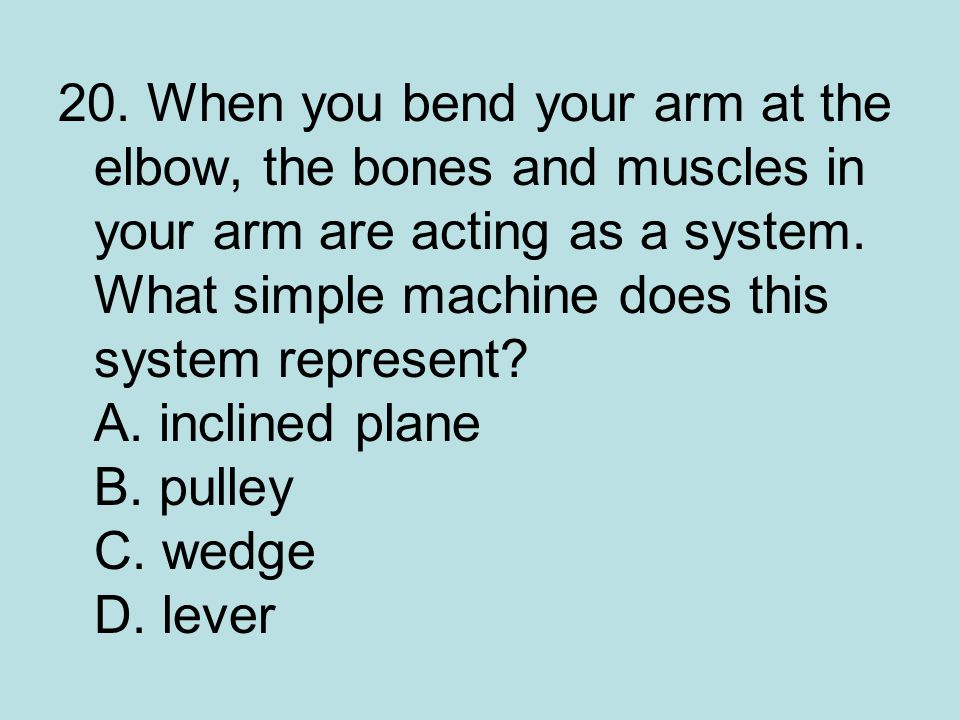 20. When you bend your arm at the elbow, the bones and muscles in your arm are acting as a system.
