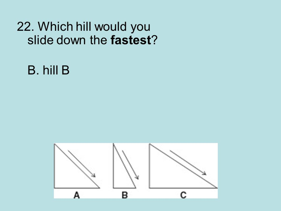 22. Which hill would you slide down the fastest