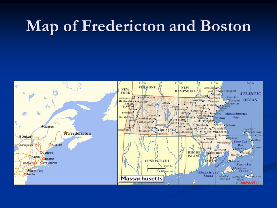 Map of Fredericton and Boston