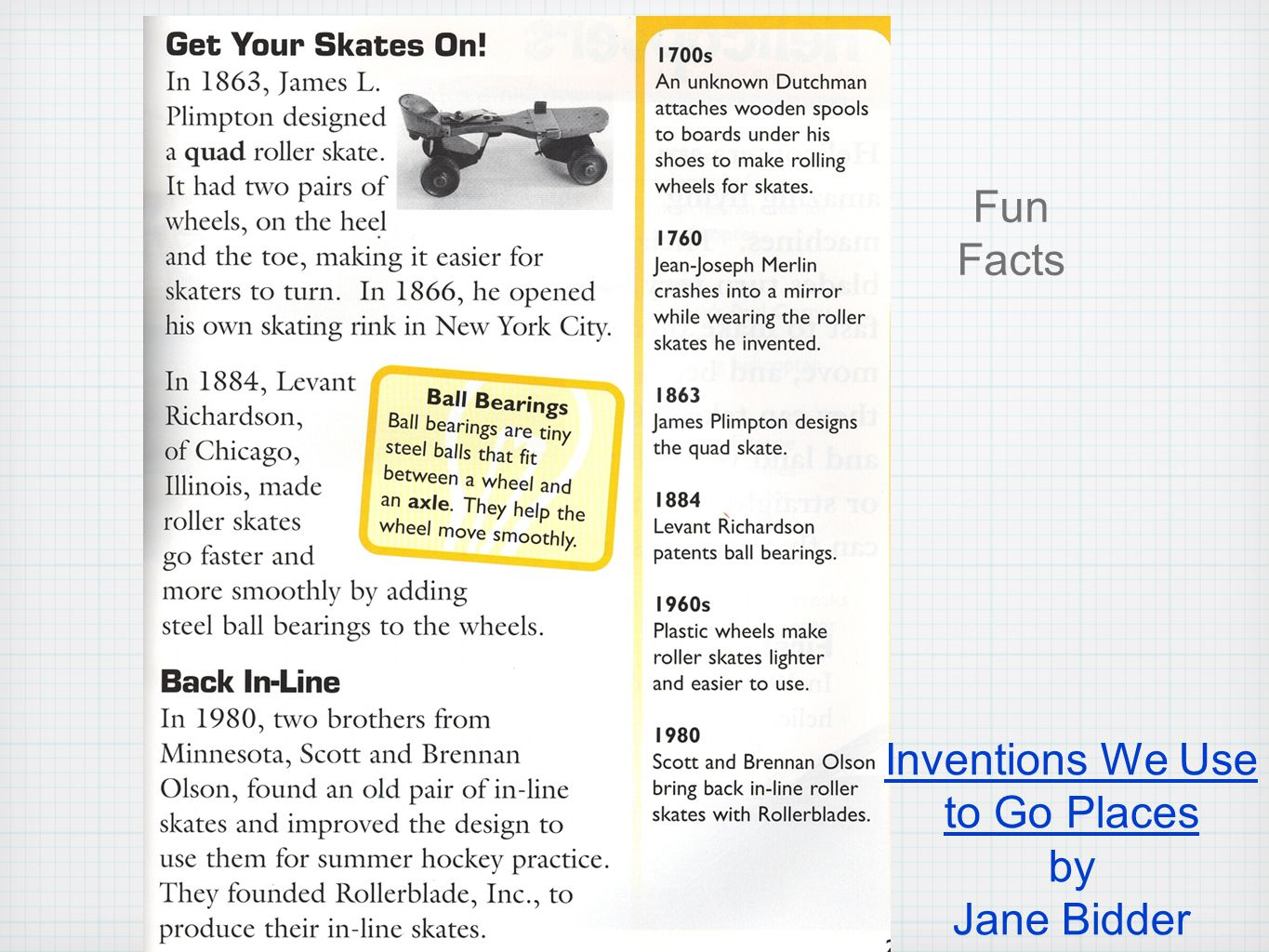 Fun Facts Inventions We Use to Go Places by Jane Bidder