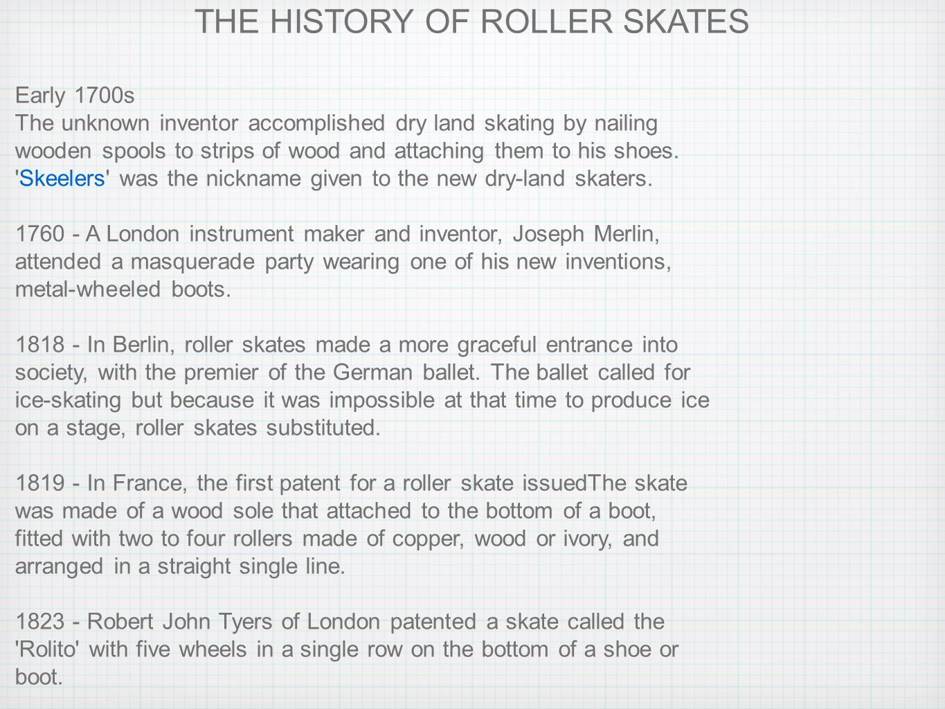 Roller shoes history