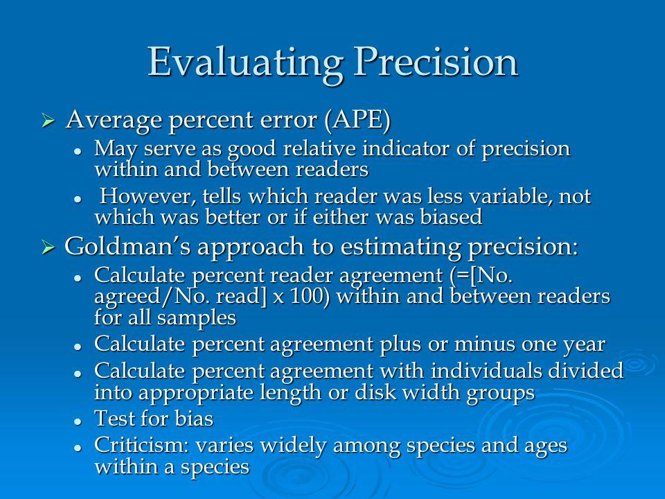 Evaluating Precision Average percent error (APE)