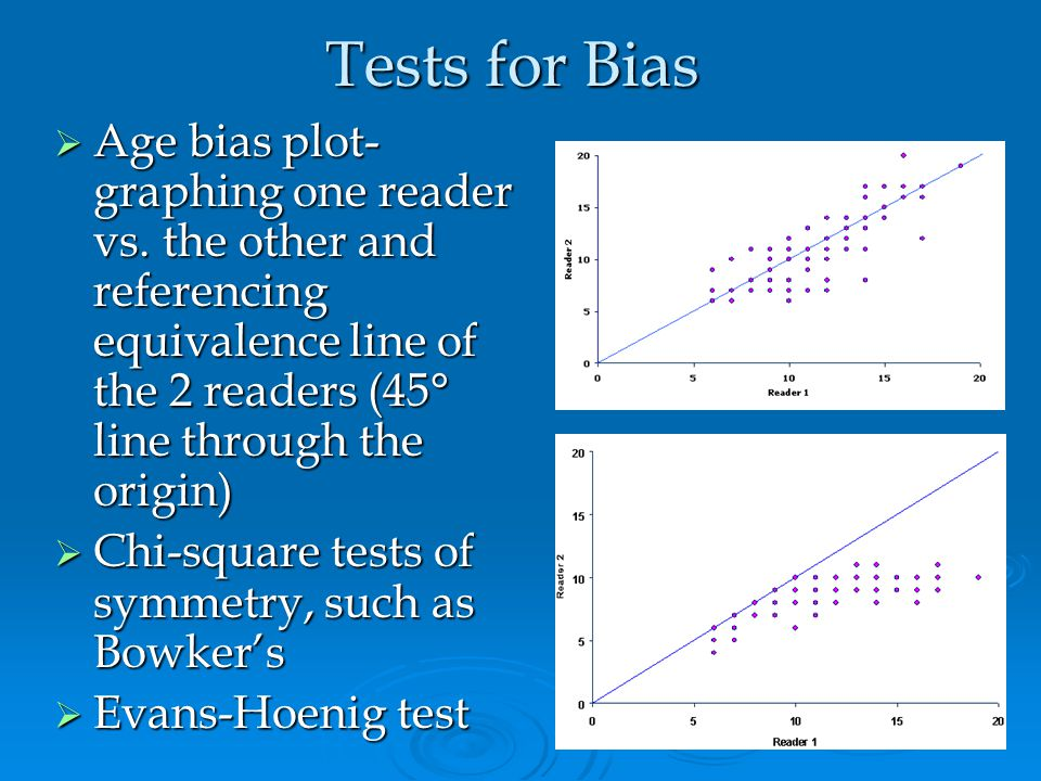 Tests for Bias Age bias plot- graphing one reader vs. the other and referencing equivalence line of the 2 readers (45° line through the origin)