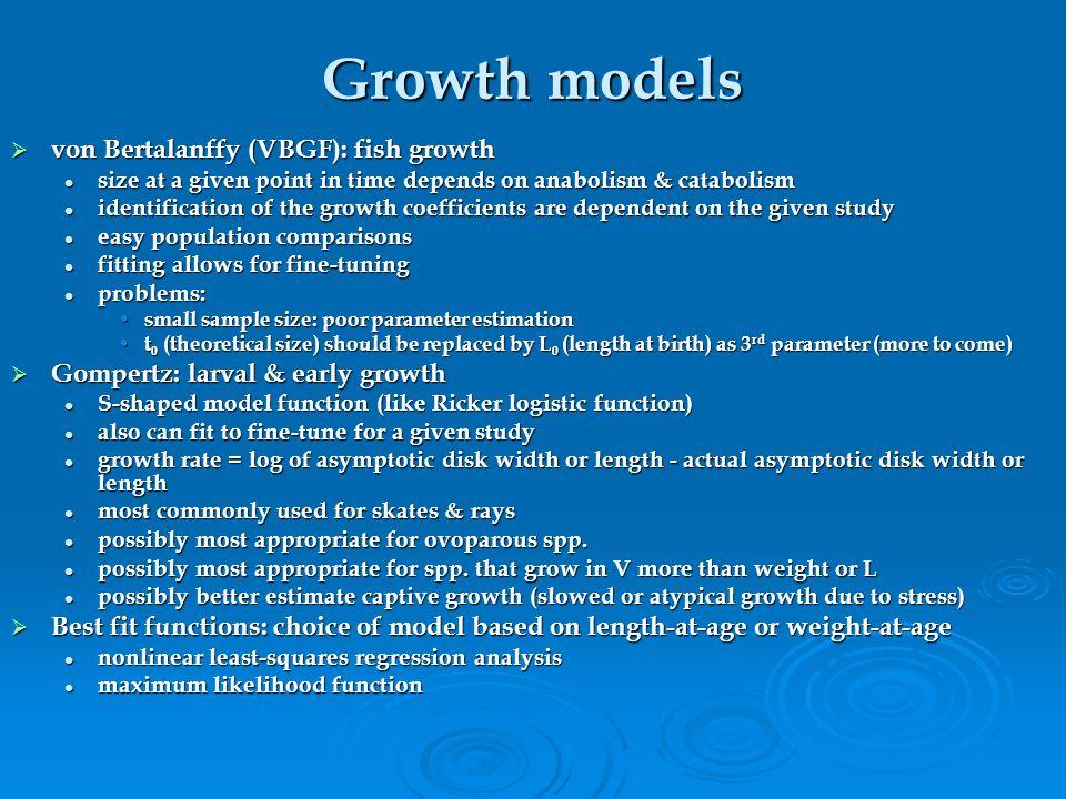 Growth models von Bertalanffy (VBGF): fish growth