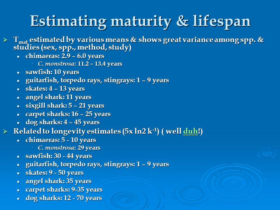 Estimating maturity & lifespan