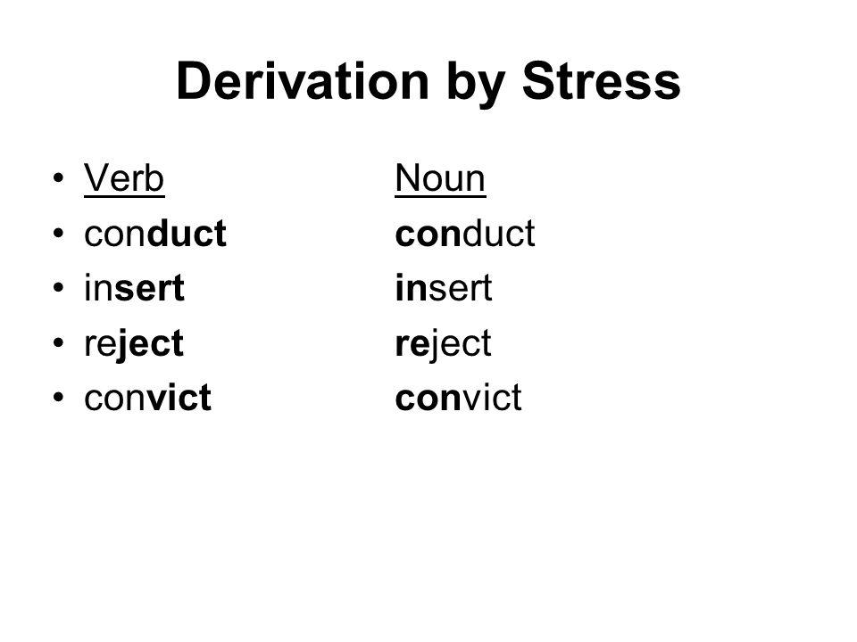 Derivation by Stress Verb Noun conduct conduct insert insert
