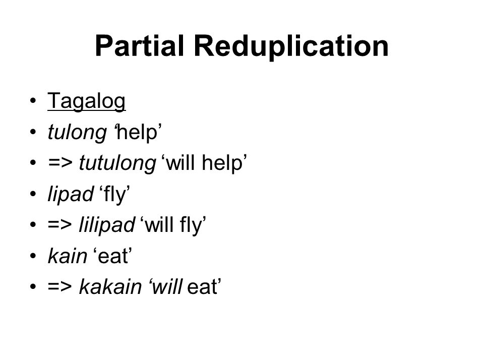 Partial Reduplication