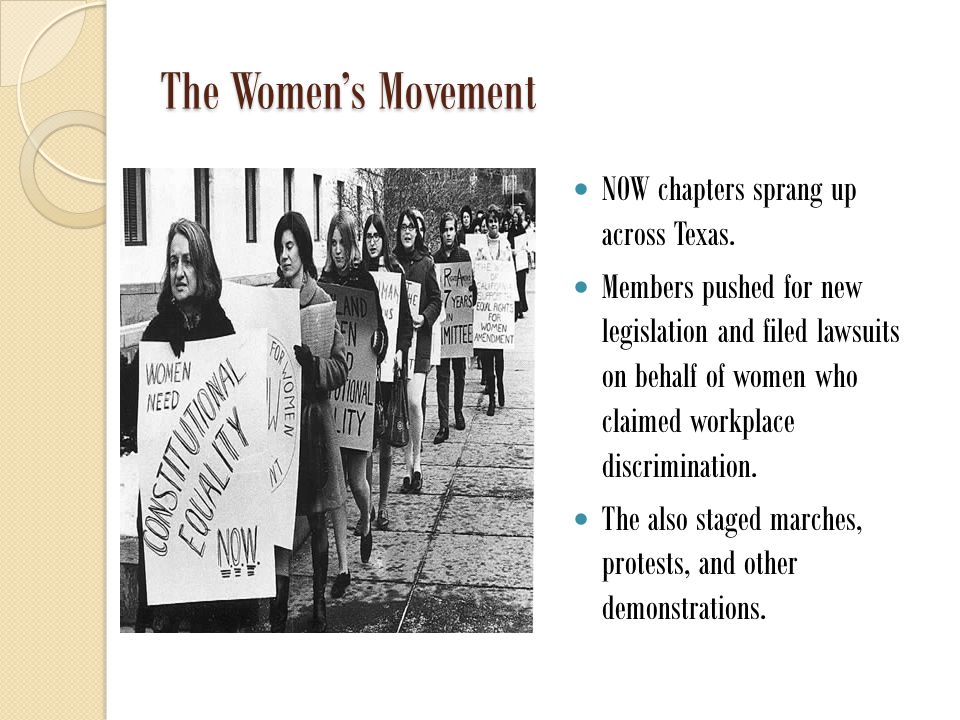 The Women's Movement NOW chapters sprang up across Texas.