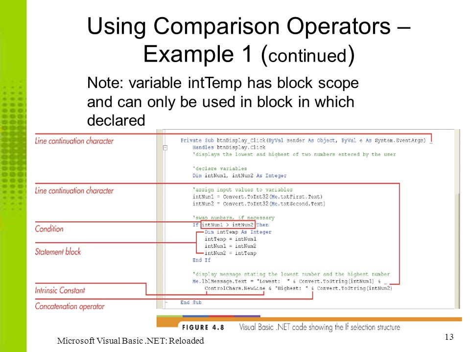 Using Comparison Operators – Example 1 (continued)