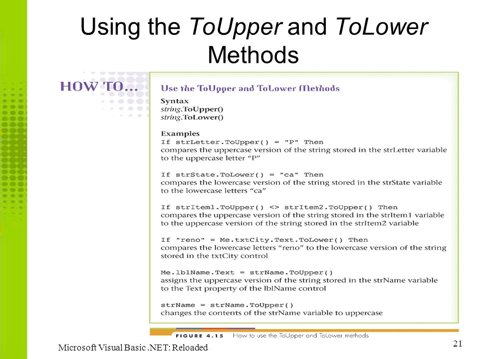 Using the ToUpper and ToLower Methods