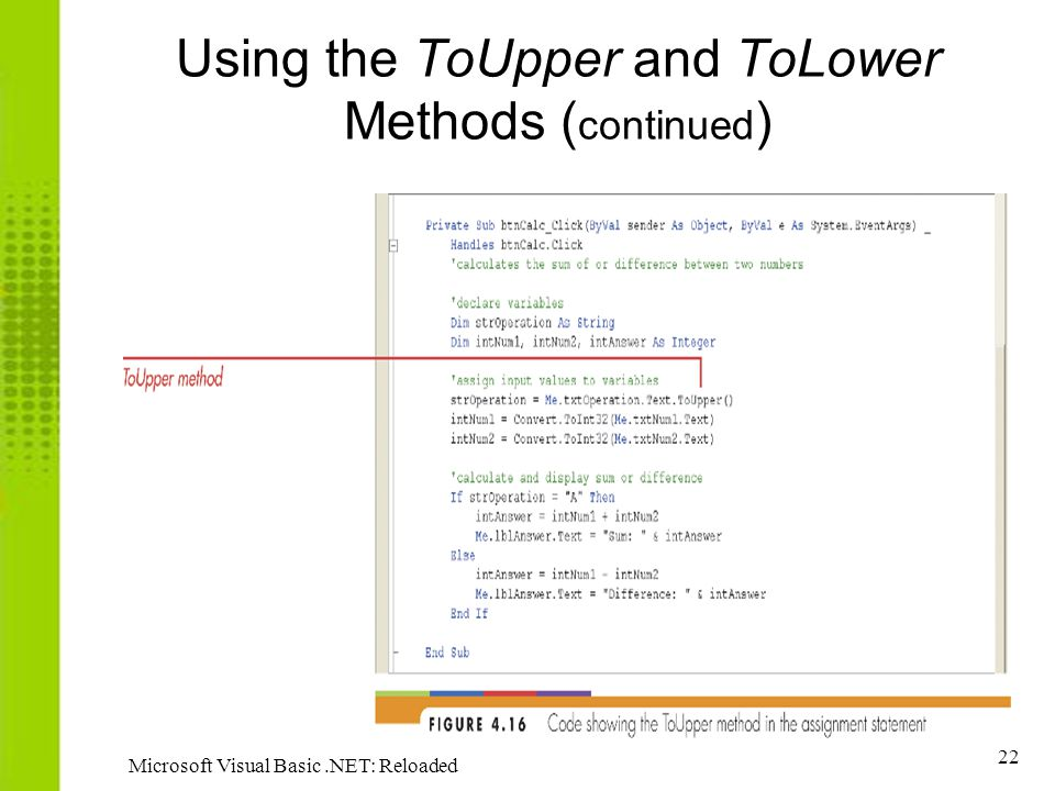 Using the ToUpper and ToLower Methods (continued)