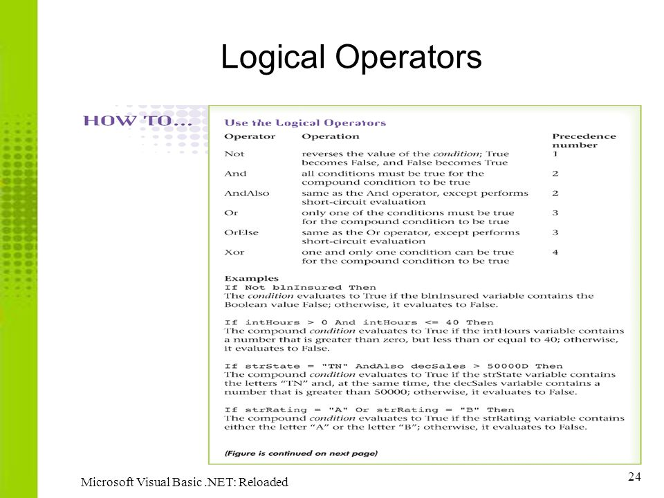 Logical Operators Microsoft Visual Basic .NET: Reloaded
