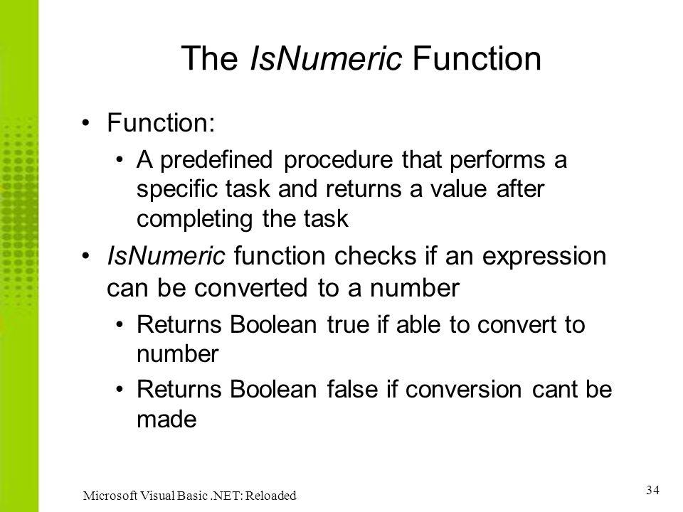 The IsNumeric Function